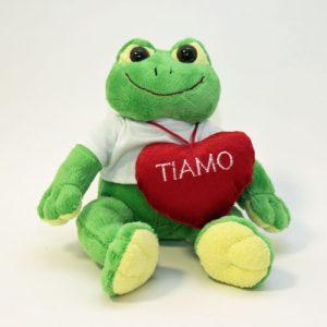PELUCHES RANA con t-shirt personalizzabile alt. 23 cm. e cuore con scritta Love-5